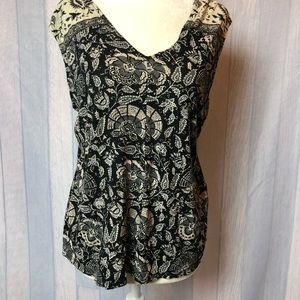 Lucky Brand Black Floral Blouse Top Sleeveless
